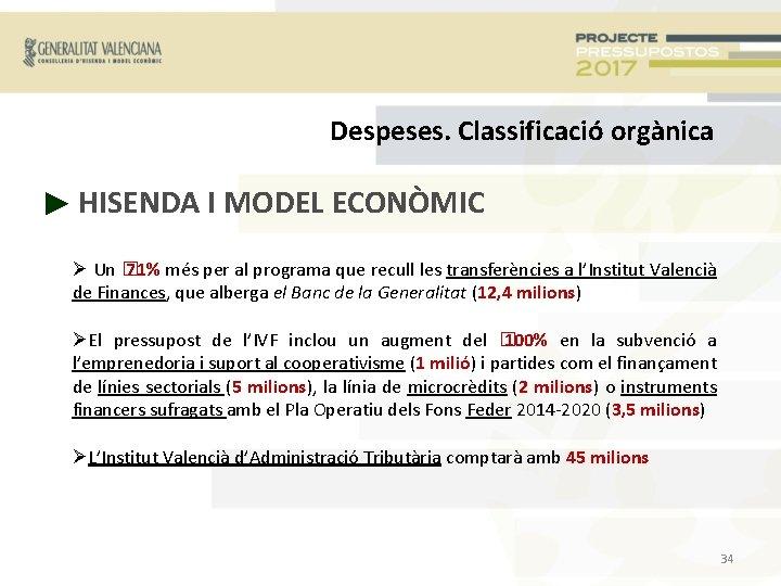 Despeses. Classificació orgànica ► HISENDA I MODEL ECONÒMIC Un � 71% més per al