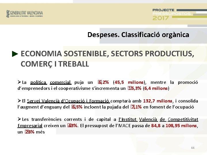 Despeses. Classificació orgànica ► ECONOMIA SOSTENIBLE, SECTORS PRODUCTIUS, COMERÇ I TREBALL La política comercial