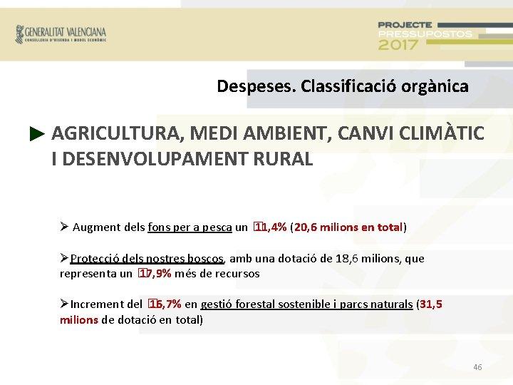 Despeses. Classificació orgànica ► AGRICULTURA, MEDI AMBIENT, CANVI CLIMÀTIC I DESENVOLUPAMENT RURAL Augment dels