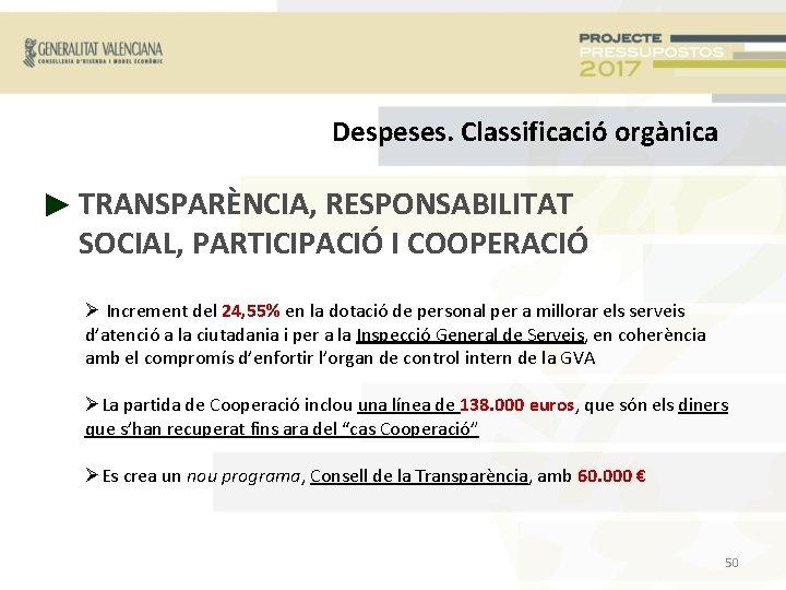 Despeses. Classificació orgànica ► TRANSPARÈNCIA, RESPONSABILITAT SOCIAL, PARTICIPACIÓ I COOPERACIÓ Increment del 24, 55%