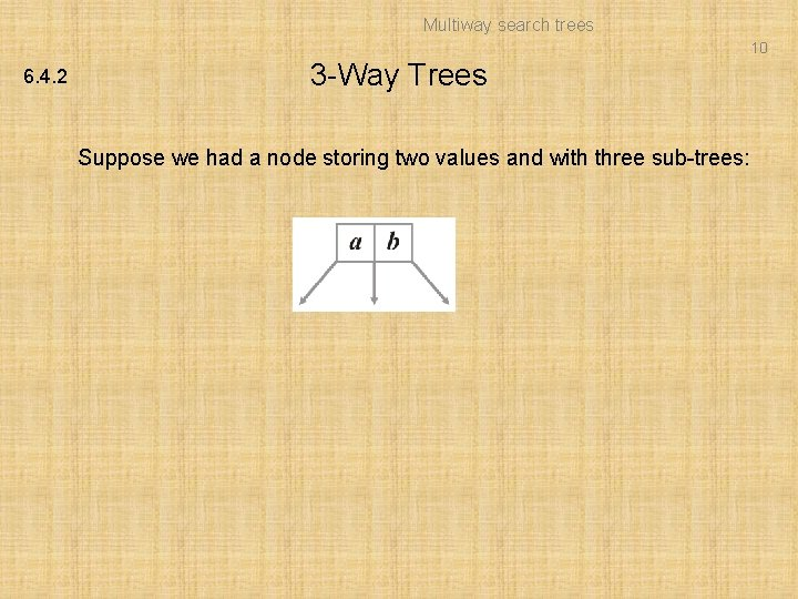 Multiway search trees 10 6. 4. 2 3 -Way Trees Suppose we had a