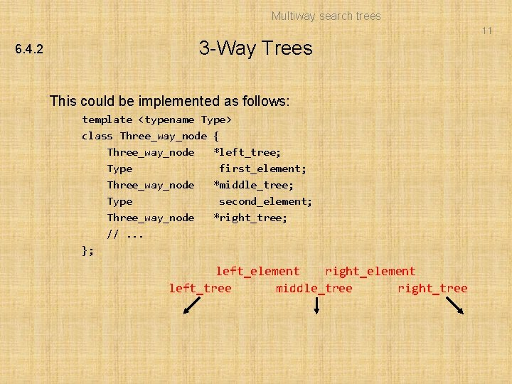 Multiway search trees 11 6. 4. 2 3 -Way Trees This could be implemented