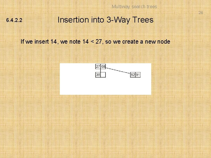 Multiway search trees 26 6. 4. 2. 2 Insertion into 3 -Way Trees If