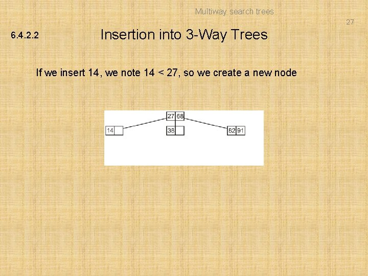 Multiway search trees 27 6. 4. 2. 2 Insertion into 3 -Way Trees If
