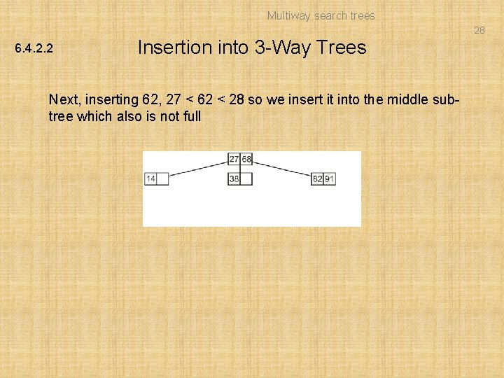Multiway search trees 28 6. 4. 2. 2 Insertion into 3 -Way Trees Next,