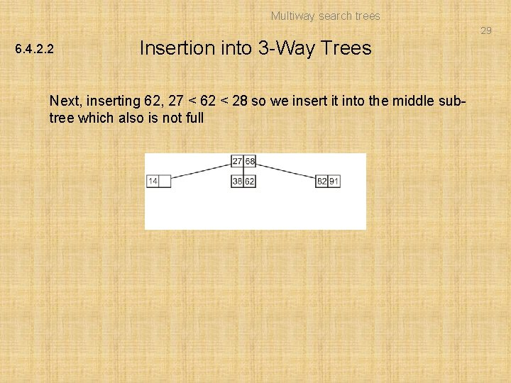 Multiway search trees 29 6. 4. 2. 2 Insertion into 3 -Way Trees Next,