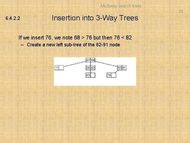 Multiway search trees 33 6. 4. 2. 2 Insertion into 3 -Way Trees If