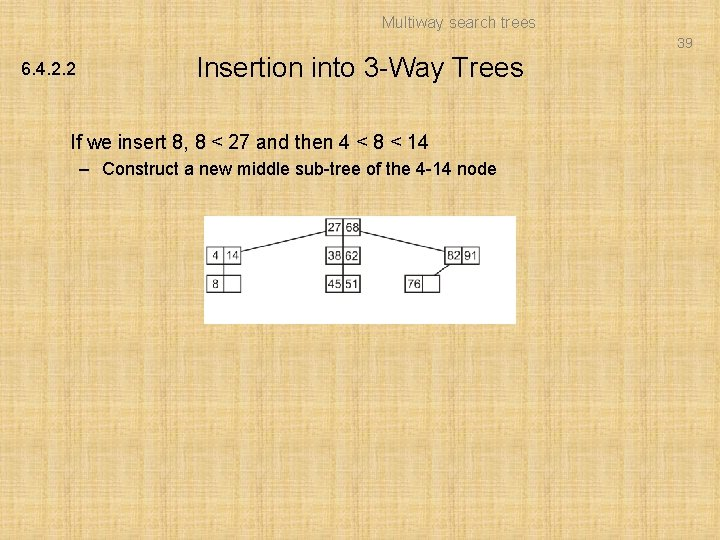 Multiway search trees 39 6. 4. 2. 2 Insertion into 3 -Way Trees If