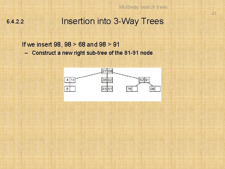 Multiway search trees 41 6. 4. 2. 2 Insertion into 3 -Way Trees If