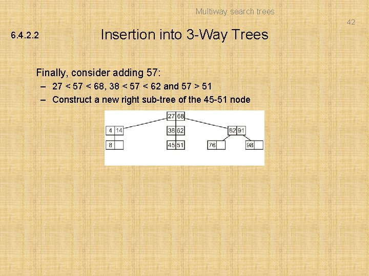 Multiway search trees 42 6. 4. 2. 2 Insertion into 3 -Way Trees Finally,
