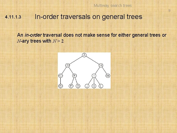 Multiway search trees 9 4. 11. 1. 3 In-order traversals on general trees An