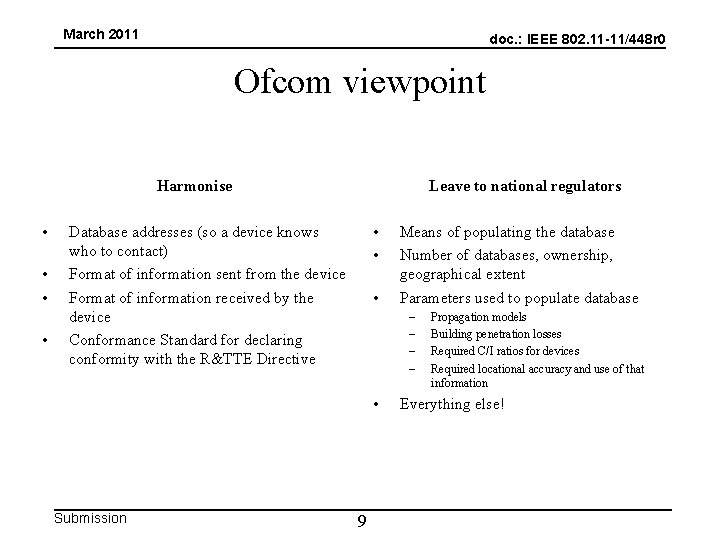 March 2011 doc. : IEEE 802. 11 -11/448 r 0 Ofcom viewpoint Harmonise •