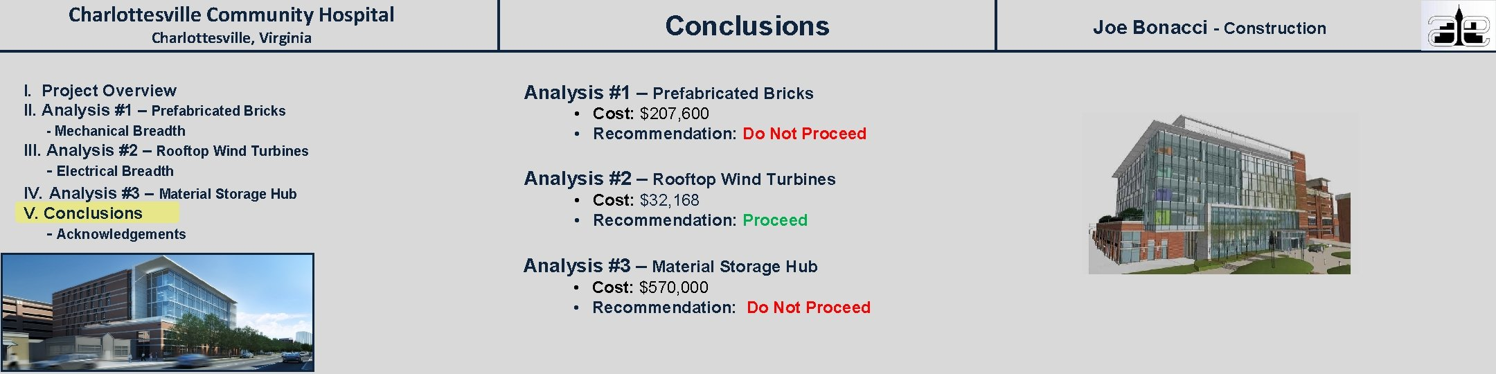Charlottesville Community Hospital Charlottesville, Virginia I. Project Overview II. Analysis #1 – Prefabricated Bricks