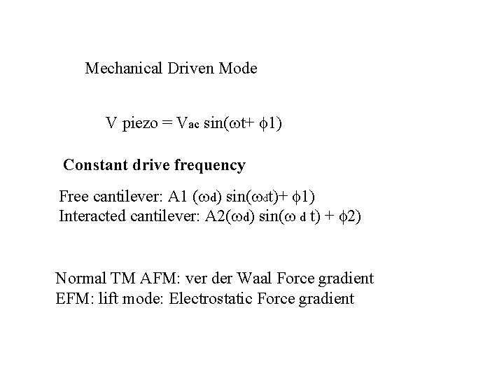 Mechanical Driven Mode V piezo = Vac sin( t+ 1) Constant drive frequency Free