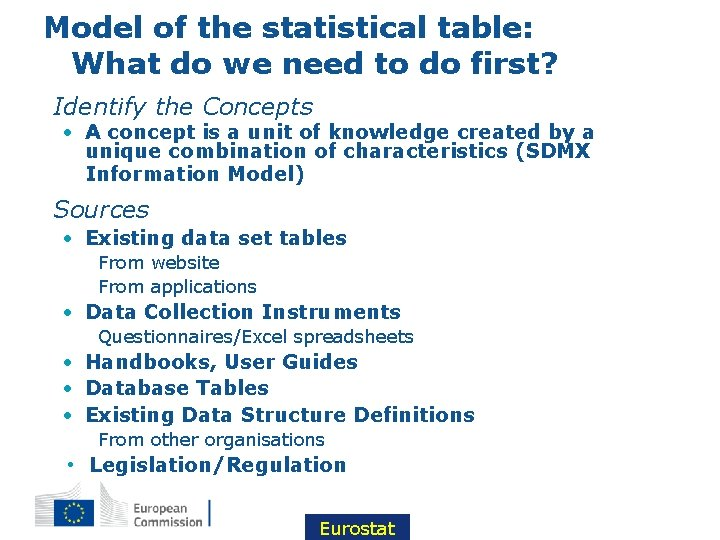 Model of the statistical table: What do we need to do first? • Identify
