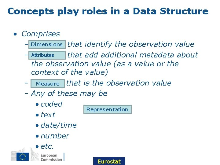 Concepts play roles in a Data Structure • Comprises – Dimensions Concepts that identify