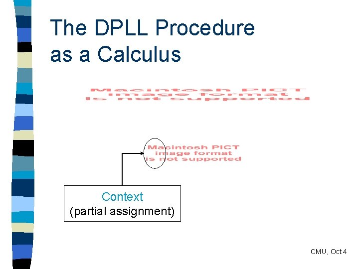 The DPLL Procedure as a Calculus Context (partial assignment) CMU, Oct 4