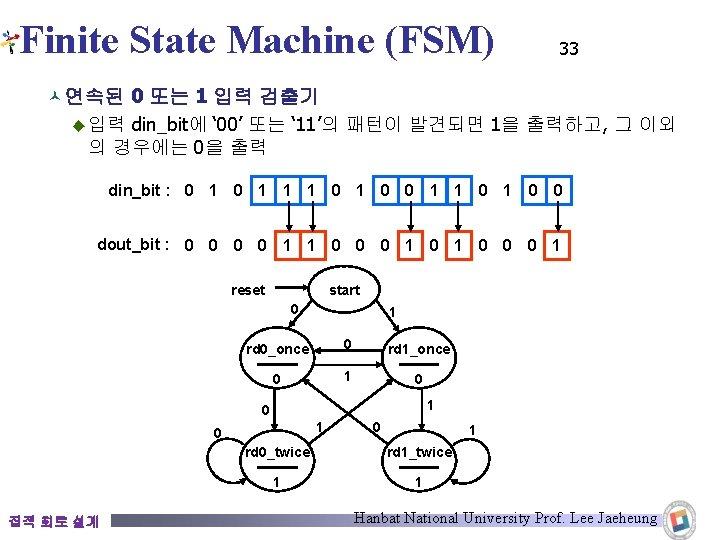 Finite State Machine (FSM) 33 © 연속된 0 또는 1 입력 검출기 ◆ 입력