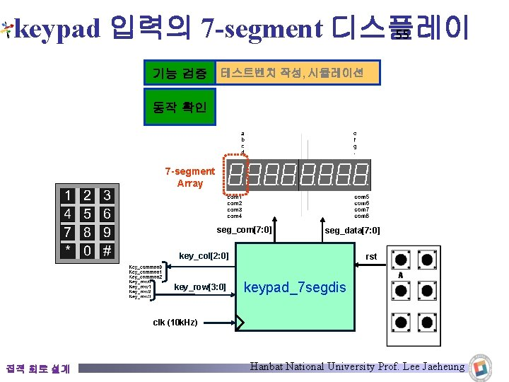 keypad 입력의 7 -segment 디스플레이 55 기능 검증 테스트벤치 작성, 시뮬레이션 동작 확인 7