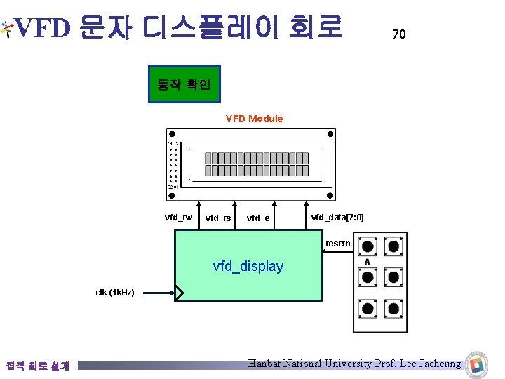 VFD 문자 디스플레이 회로 70 동작 확인 VFD Module vfd_rw vfd_rs vfd_e vfd_data[7: 0]