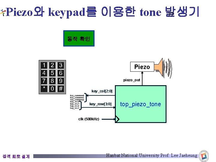 Piezo와 keypad를 이용한 tone 발생기 77 동작 확인 Piezo piezo_out key_col[2: 0] key_row[3: 0]