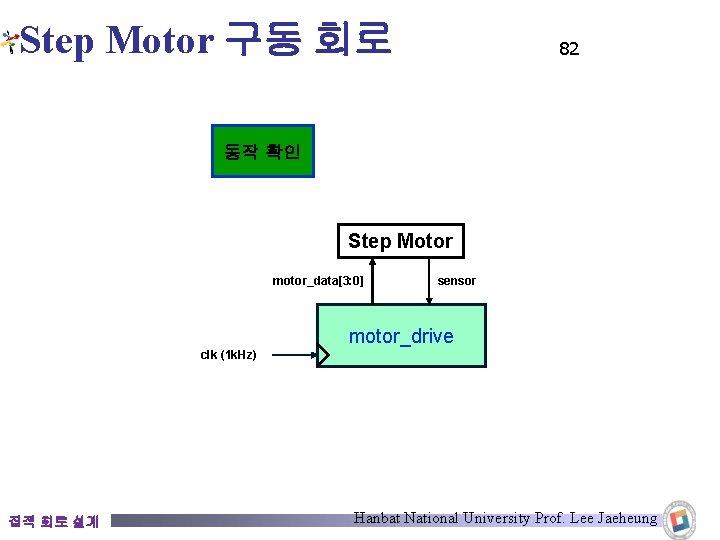 Step Motor 구동 회로 82 동작 확인 Step Motor motor_data[3: 0] sensor motor_drive clk