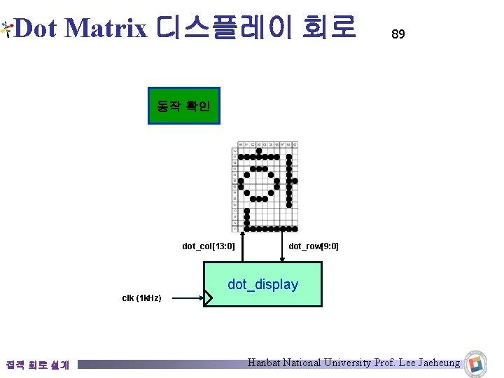 Dot Matrix 디스플레이 회로 89 동작 확인 dot_col[13: 0] dot_row[9: 0] dot_display clk (1