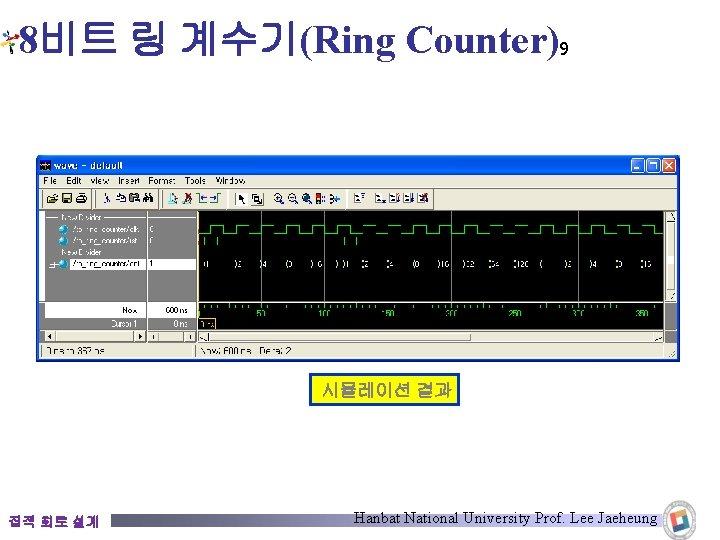 8비트 링 계수기(Ring Counter)9 시뮬레이션 결과 집적 회로 설계 Hanbat National University Prof. Lee