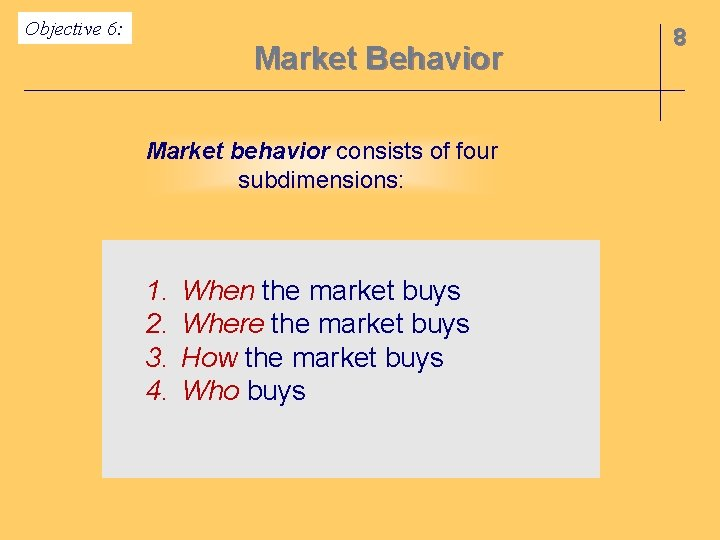 Objective 6: Market Behavior Market behavior consists of four subdimensions: 1. 2. 3. 4.