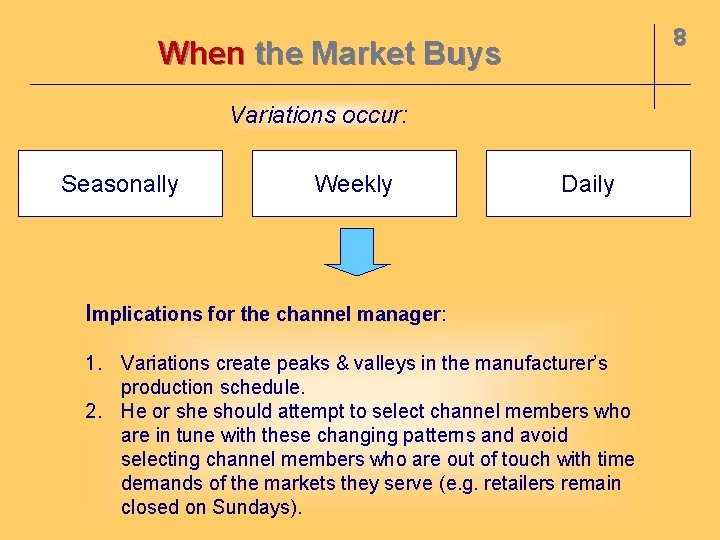 8 When the Market Buys Variations occur: Seasonally Weekly Daily Implications for the channel