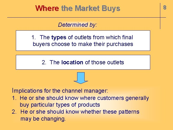 Where the Market Buys Determined by: 1. The types of outlets from which final