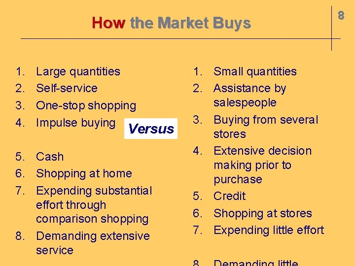 How the Market Buys 1. 2. 3. 4. Large quantities Self-service One-stop shopping Impulse