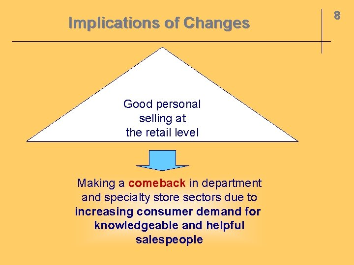 Implications of Changes Good personal selling at the retail level Making a comeback in