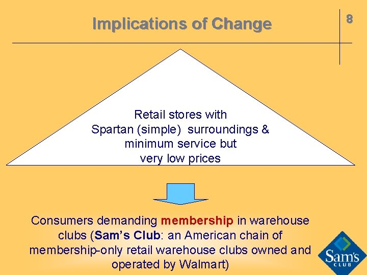 Implications of Change Retail stores with Spartan (simple) surroundings & minimum service but very