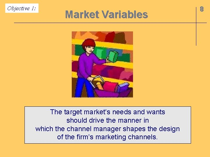 Objective 1: Market Variables The target market's needs and wants should drive the manner