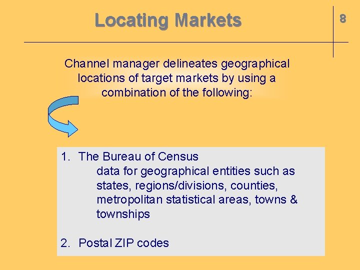 Locating Markets Channel manager delineates geographical locations of target markets by using a combination