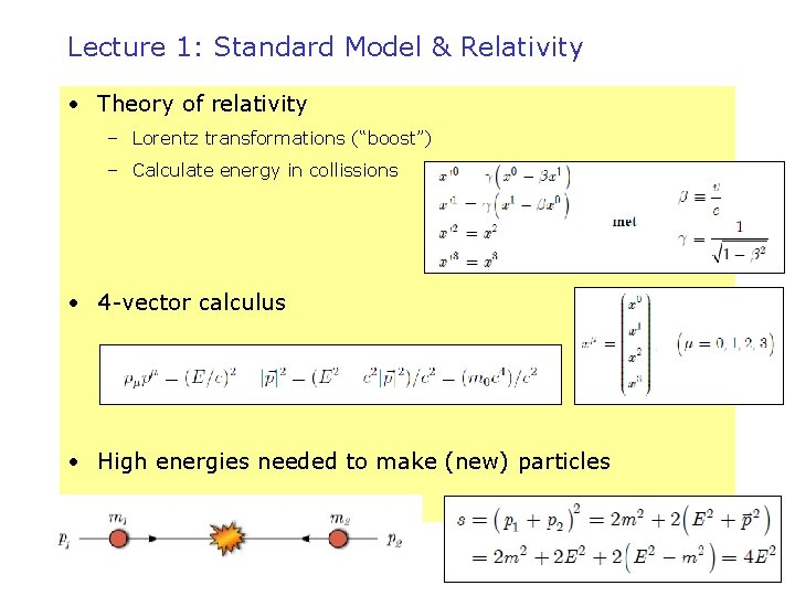 """Lecture 1: Standard Model & Relativity • Theory of relativity – Lorentz transformations (""""boost"""")"""