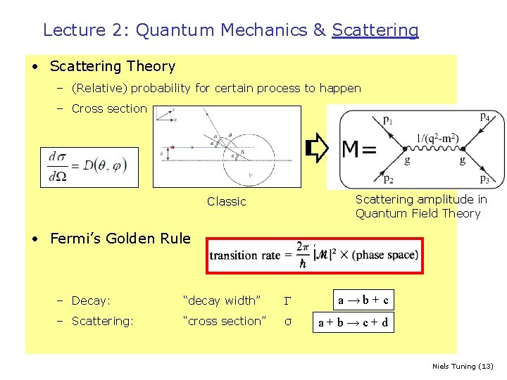 Lecture 2: Quantum Mechanics & Scattering • Scattering Theory – (Relative) probability for certain