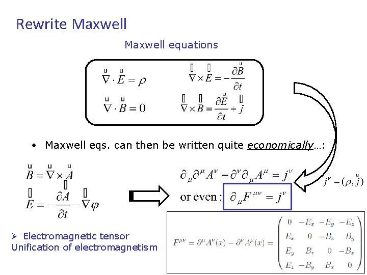 Rewrite Maxwell equations • Maxwell eqs. can then be written quite economically…: Ø Electromagnetic