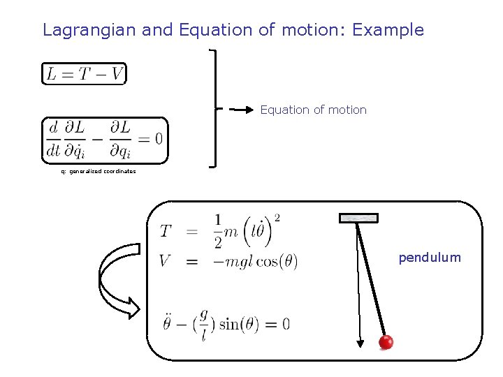 Lagrangian and Equation of motion: Example 1) Lagrangiaan 2) Euler-Lagrange vergelijking Equation of motion