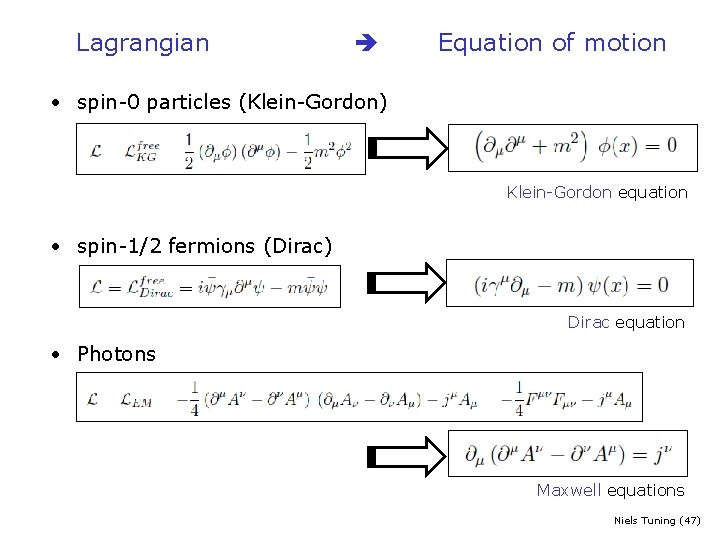 Lagrangian Equation of motion • spin-0 particles (Klein-Gordon) Klein-Gordon equation • spin-1/2 fermions (Dirac)