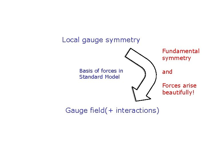 Local gauge symmetry Fundamental symmetry Basis of forces in Standard Model and Forces arise