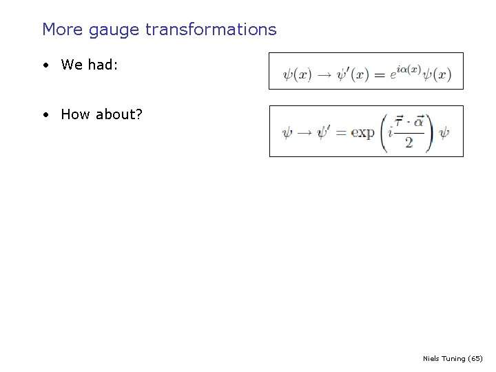 More gauge transformations • We had: • How about? Niels Tuning (65)