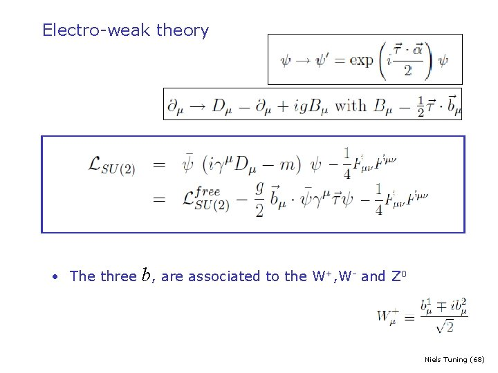 Electro-weak theory • The three b, are associated to the W+, W- and Z