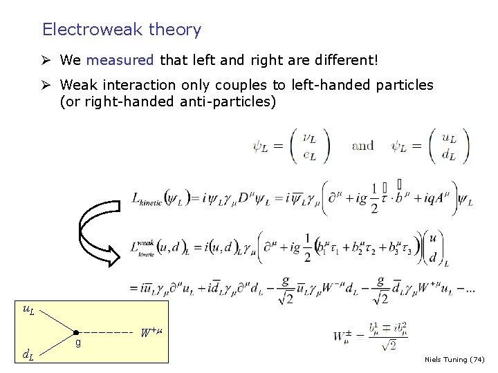Electroweak theory Ø We measured that left and right are different! Ø Weak interaction