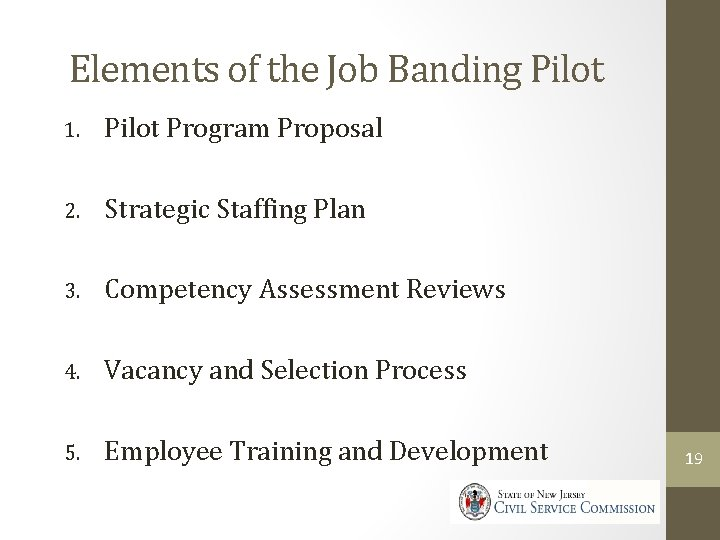 Elements of the Job Banding Pilot 1. Pilot Program Proposal 2. Strategic Staffing Plan