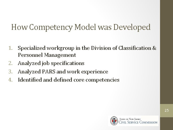 How Competency Model was Developed 1. Specialized workgroup in the Division of Classification &