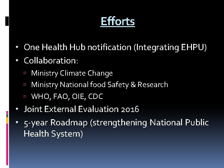 Efforts • One Health Hub notification (Integrating EHPU) • Collaboration: Ministry Climate Change Ministry
