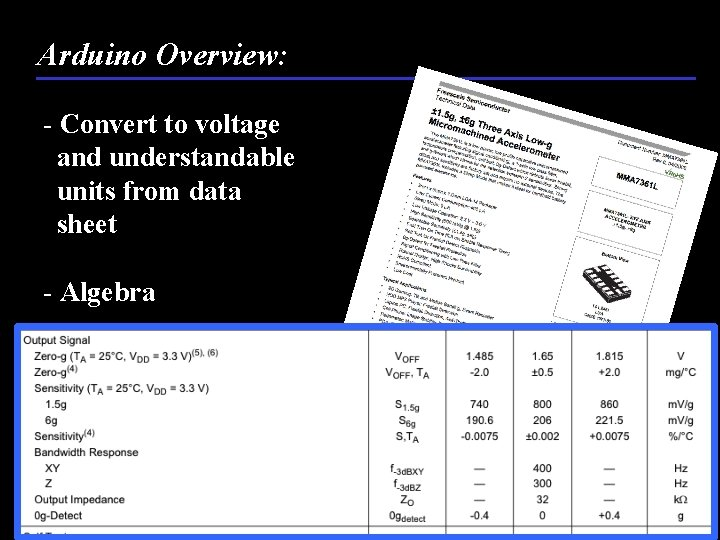 Arduino Overview: - Convert to voltage and understandable units from data sheet - Algebra