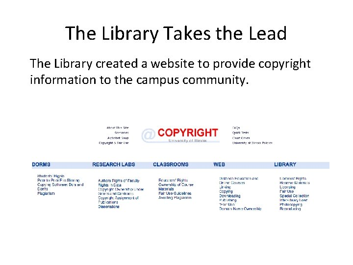 The Library Takes the Lead The Library created a website to provide copyright information